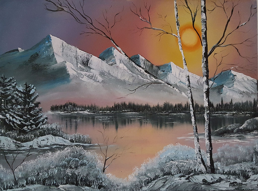 Bob-Ross-Winterlandschaft-Sonne